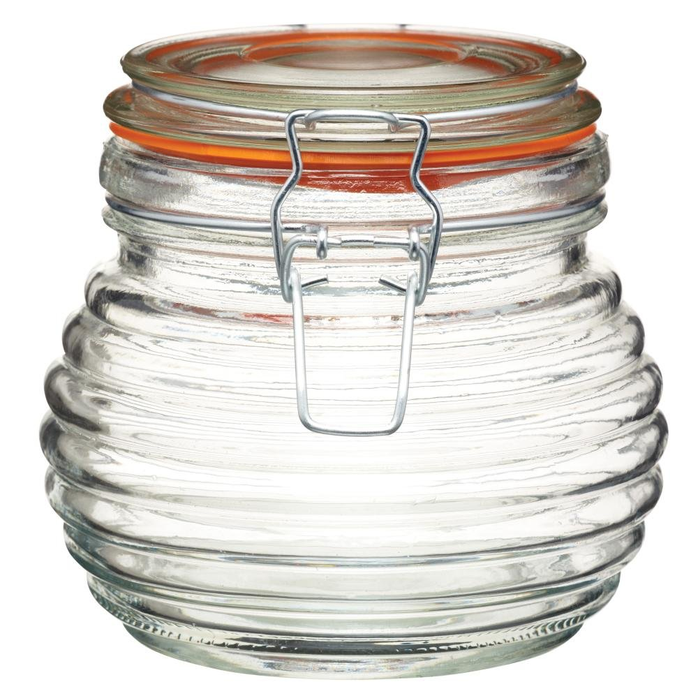 KitchenCraft Home Made 650 ml Traditional Glass Beehive Honey Pot with Silicone Seal Kitchen Craft KCHMHONEYGL