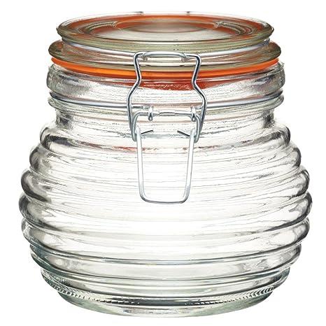 Amazon.com: 650 ml tradicional vidrio Colmena Miel Pot ...