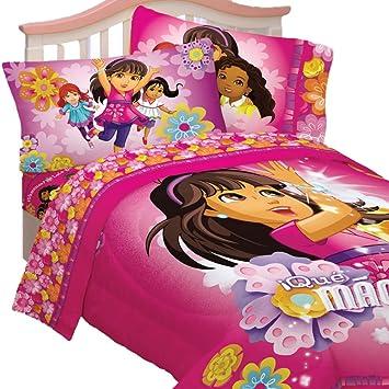 4pc Dora The Explorer Twin Bedding Set Dora And Friends Hola Amigos  Comforter And Sheet Set