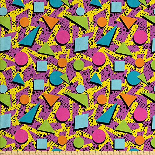Lunarable Colorful Fabric by The Yard, Vibrant Colored Vintage Memphis Pattern in Eighties Fashion Funky Hipster Art, Decorative Fabric for Upholstery and Home Accents, Multicolor