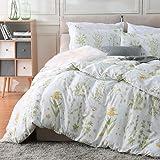 Fire Kirin Botanical Duvet Cover Set 2pc (1 Duvet Cover + 1 Pillowcase) Yellow Flowers and Green Leaves Floral Garden…