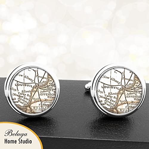 Amazoncom Handmade Antique Map Cuff Links Louisville Ky Usa City - Louisville-ky-us-map