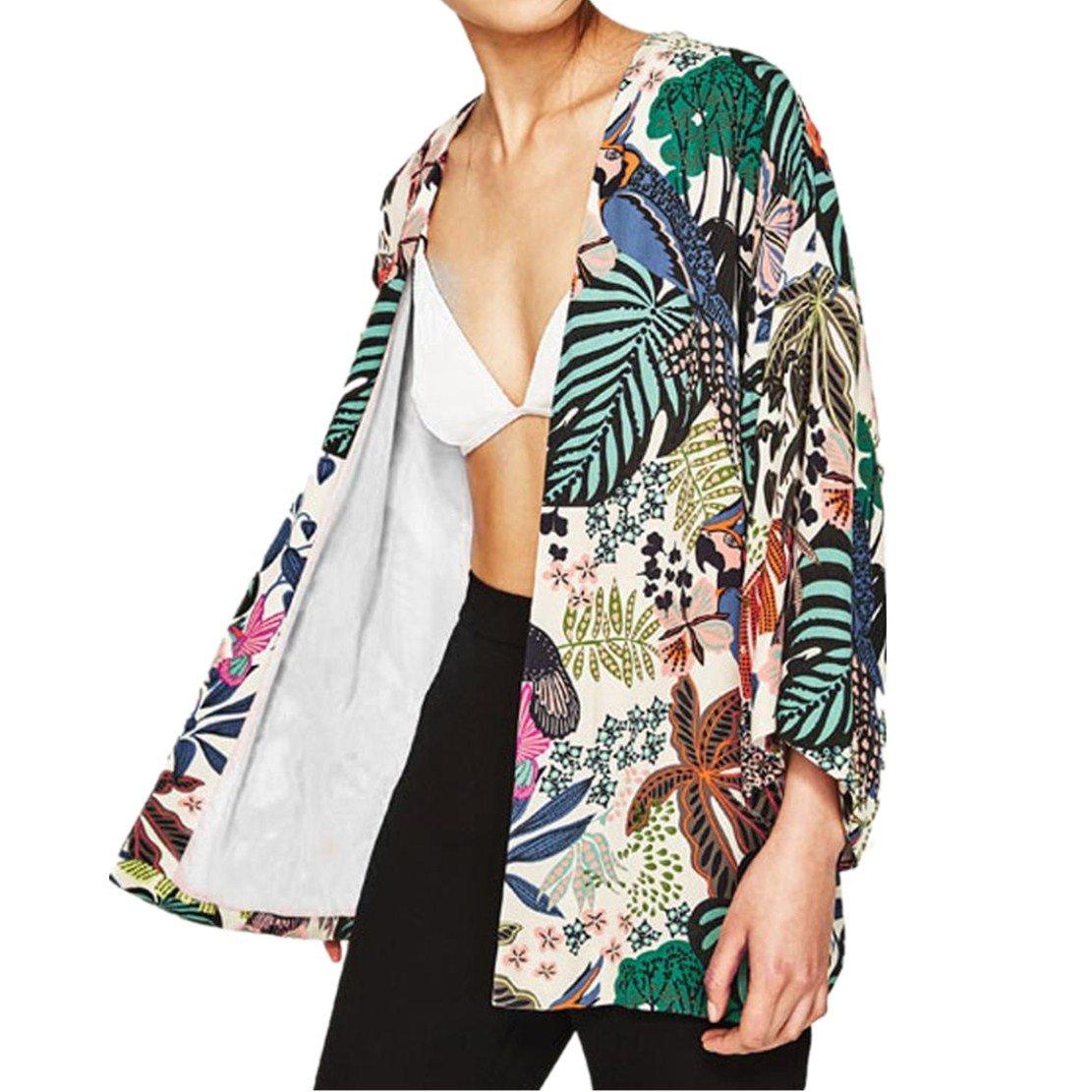 Reaso Gilet Femmes Kimono Châle Casual Blouse Tunique Shawl Manches 3/4 Ete Bikini Cover Up Cardigan Veste Imprimé Floral Manteau Mousseline de soie Floral En vrac Outwear de Plage Reaso-Chemisiers