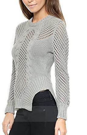 77d17019db546 Bigood Sweater Pull Femme Tricot Maille Creux Col Rond Manches Longues Chic