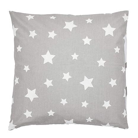 TupTam Funda para Cojin con Diseño Decorativo para Niños, Estrellas Gris/Blanco, 40 x 60 cm