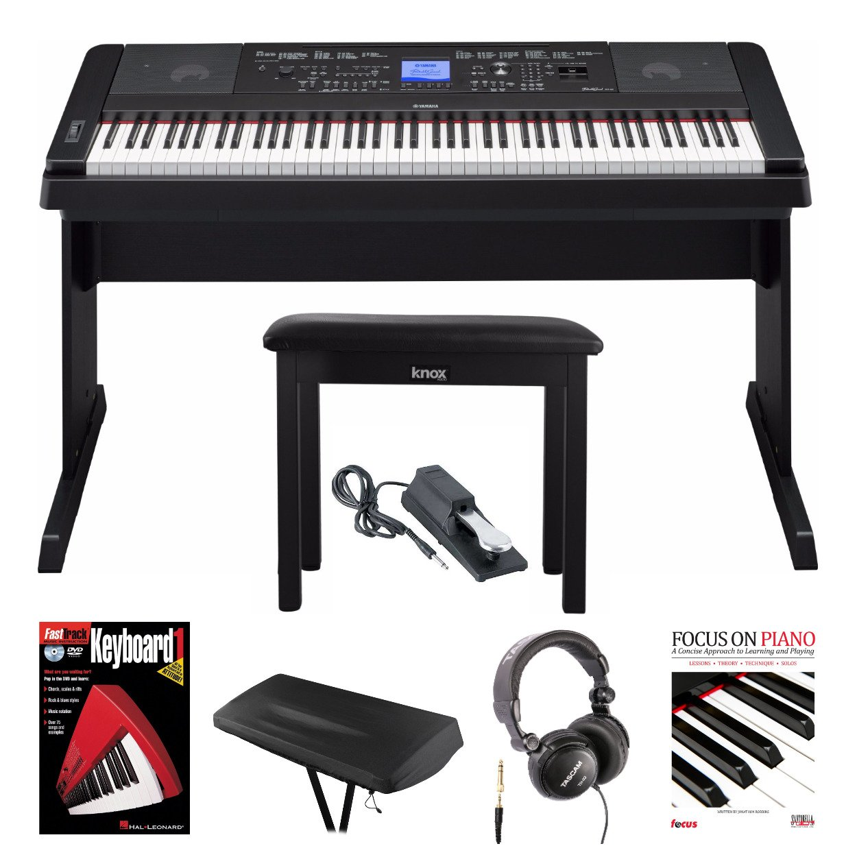 Weighted Keys Piano with Knox Piano Bench, Headphones, Sustain Pedal Dust Cover, Book & DVD