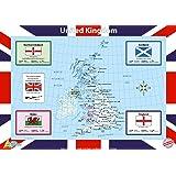 Little Wigwam - Póster Educativo Mapa Del Reino Unido 60x42cm - No Rasgar Garantía! (en inglés)