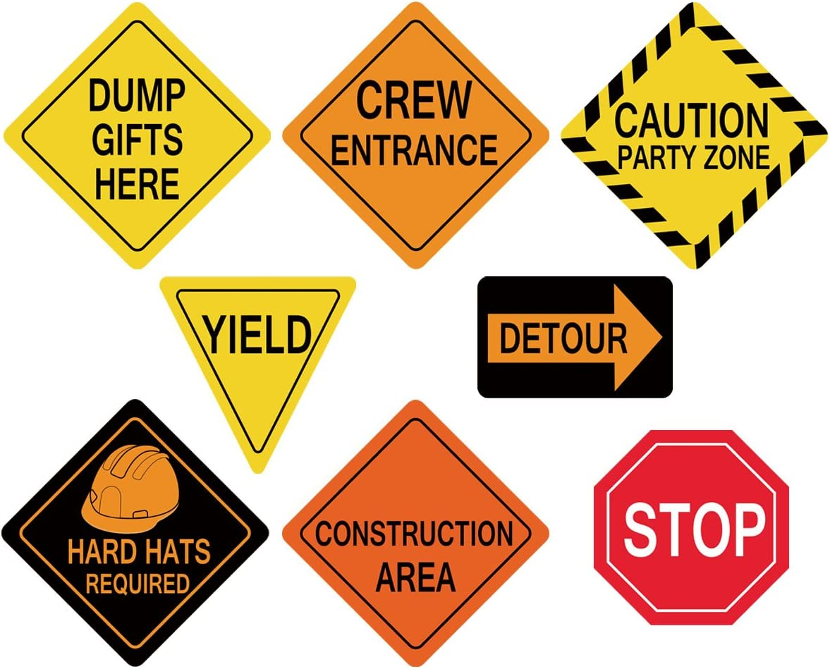 ceiba tree Traffic Signs Cutouts for Construction Themed Birthday Party Decorations Kids Supply