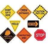 ceiba tree Traffic Signs Cutouts Construction Birthday Party Supplies Boys Set of 8