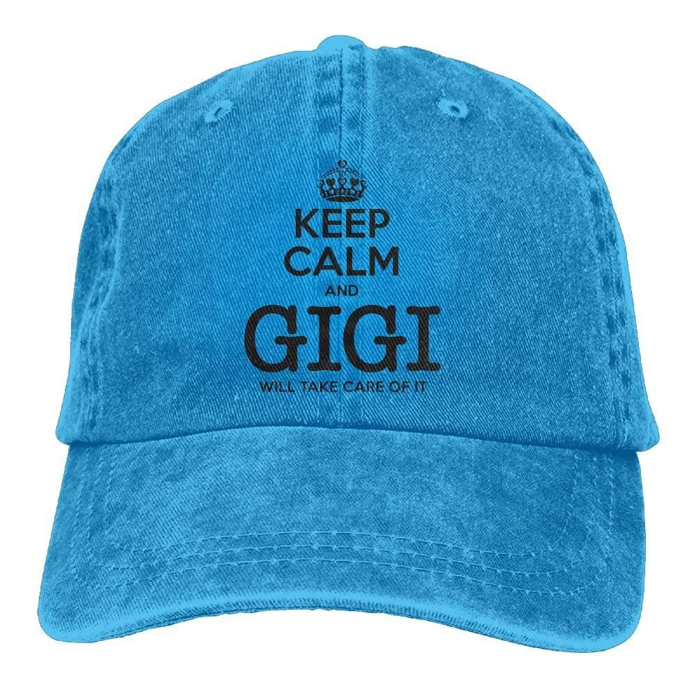Amazon.com   aoliaoyudongyongpin Adult Cowboy Cap Hat Keep Calm Gigi Will  Take Care of It Adjustable Cotton Denim Sunscreen Fishing Outdoors Retro  Visor ... 66d3abe0b163