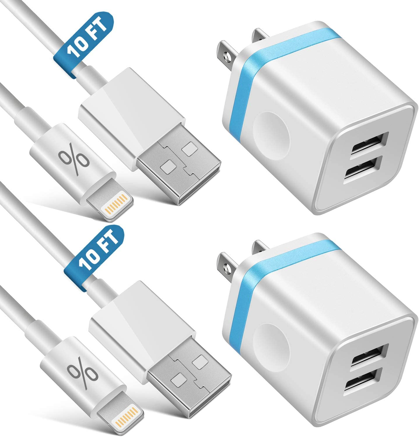 LUOSIKE iPhone Charger, 2-Pack 10 FT Long Lightning Cable Fast Charging Sync Cord with 2X Dual USB Wall Charger Plug Compatible with iPhone 11 Xs Max XR X 8 7 6S Plus SE iPad Mini Air Pro (4 in 1)
