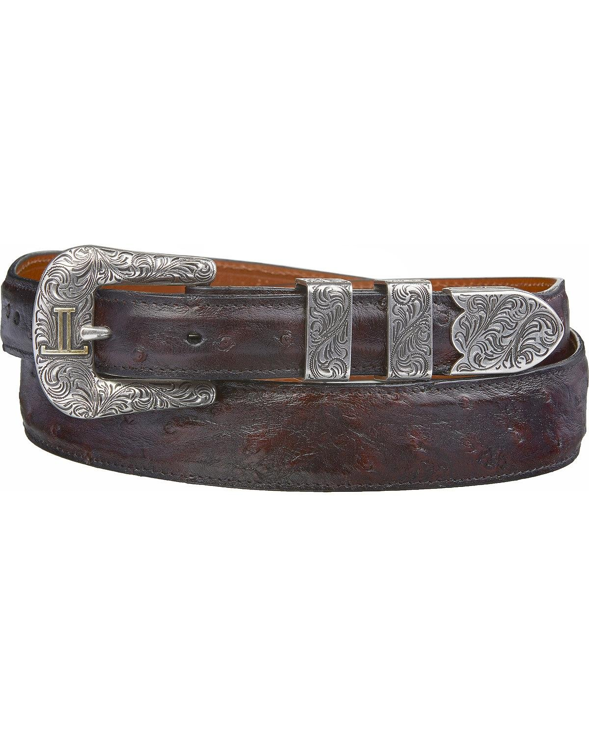 Lucchese Men's Cherry Full Quill Ostrich Leather Belt Black Cherry 34