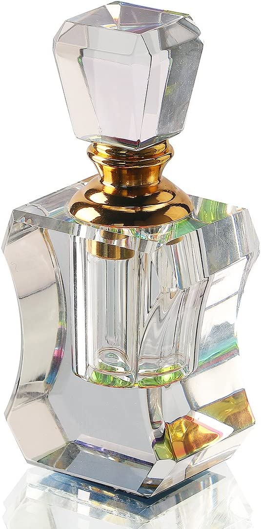 QF 3ml Crystal Perfume Bottles Clear Art Carved Decor Vintage Style Empty Glass Bottles Refillable