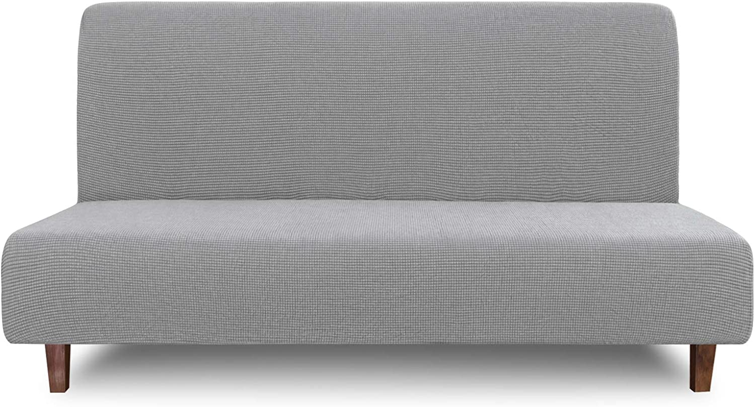 Easy-Going 100% Waterproof Futon Cover, Dual Waterproof Couch Cover for Futon, Stretch Jacquard Armless Sofa Cover, Leakproof Furniture Protector for Kids, Pets, Dog and Cat ( Futon, Light Gray)