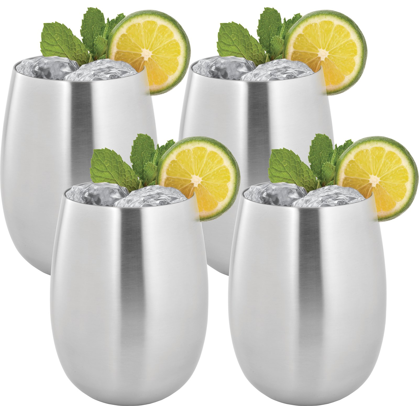Estilo Stainless Steel Stemless Wine and Cocktail Cups, Double Walled, Unbreakable, 16-ounce- Set 4