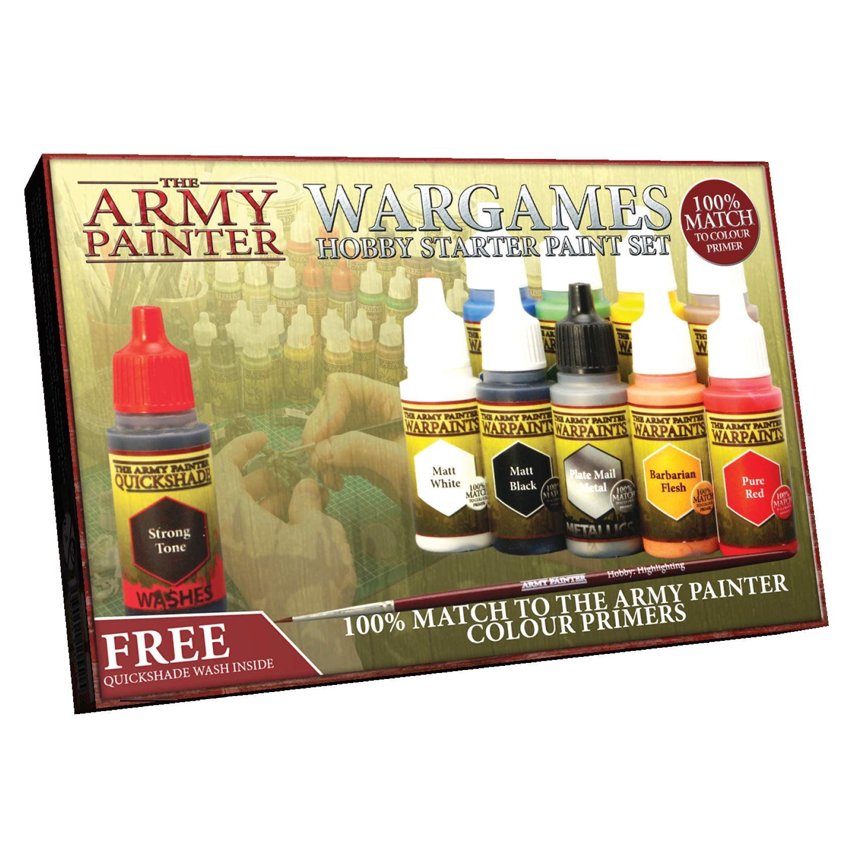 Miniatures Paint Set, 10 Model Paints with FREE Highlighting Brush, 18ml/Bottle, Miniature Painting Kit, Non Toxic Acrylic Paint Set, Wargames Hobby Starter Paint Set by The Army Painter (New Version) by The Army Painter