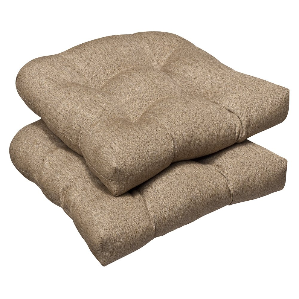 Pillow Perfect Indoor Outdoor Wicker Seat Cushion Set of 2 with Sunbrella Linen Sesame Fabric, 19 in. L X 19 in. W X 5 in. D
