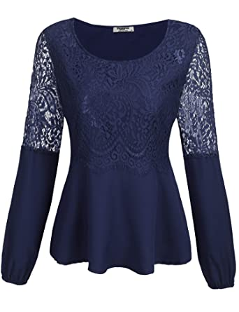 54f543ed7b7716 Beyove Damen Langarmshirt Spitzenshirt Bluse Shirt Tops Oberteil mit Floral  Spitze Blau S