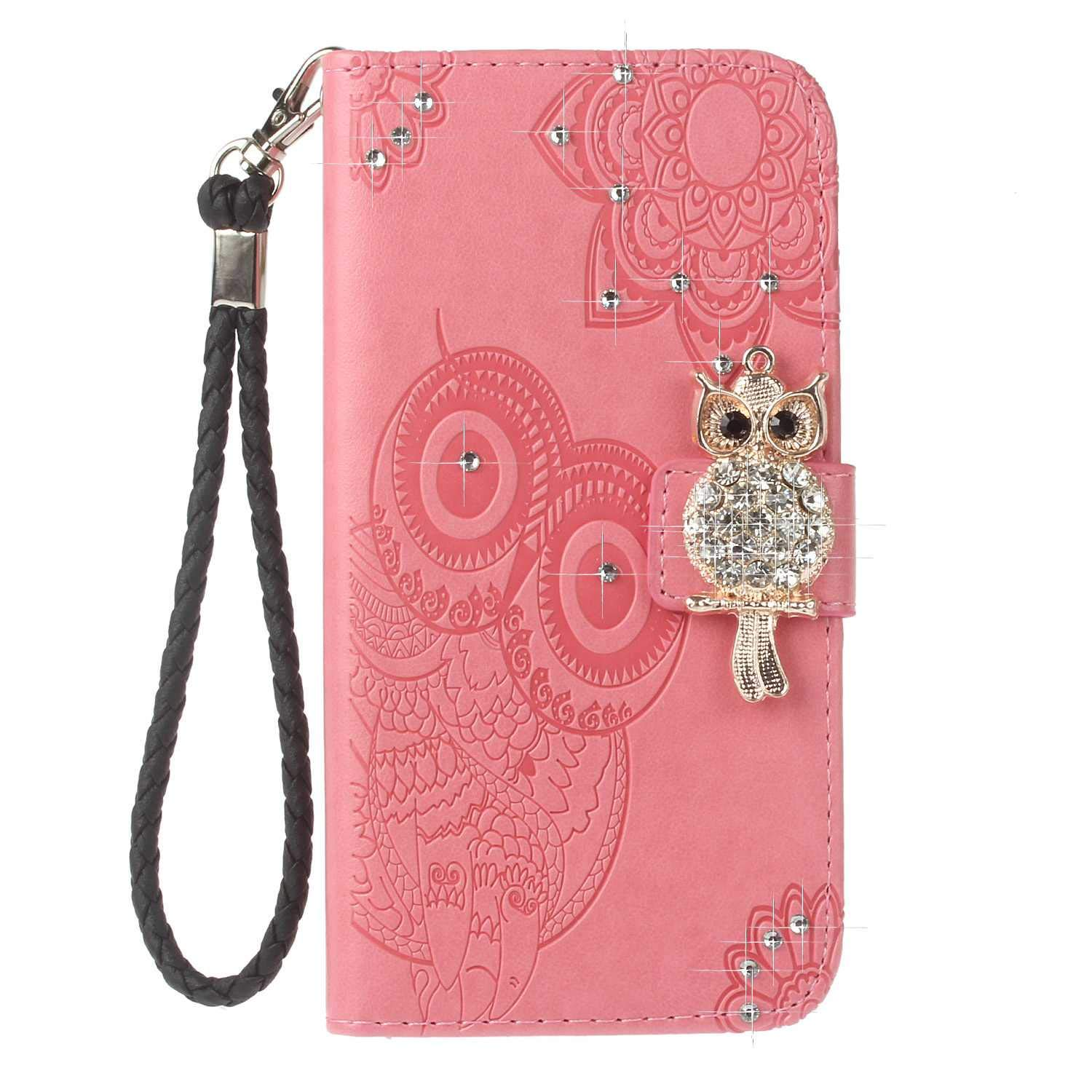 Bear Village iPhone X/iPhone Xs Case, Leather Case with Wrist Strap and Credit Card Slot, Owl Magnetic Closure Shockproof Cover for Apple iPhone X/iPhone Xs, Pink by Bear Village