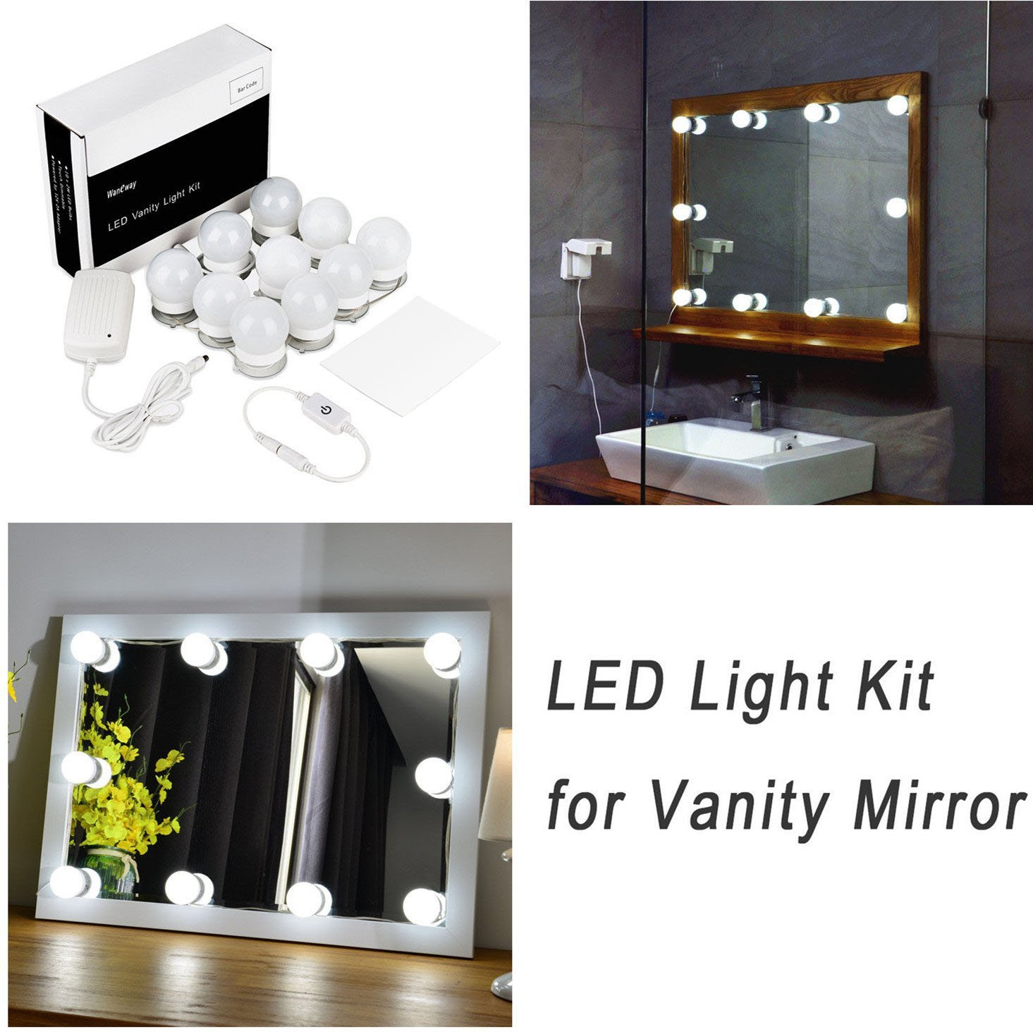 Hollywood Style LED Vanity Mirror Lights Kit for Makeup Dressing Table  Vanity Set Mirrors with Dimmer and Power Supply Plug in Lighting Fixture  Strip, ... - Hollywood Style LED Vanity Mirror Lights Kit For Makeup Dressing