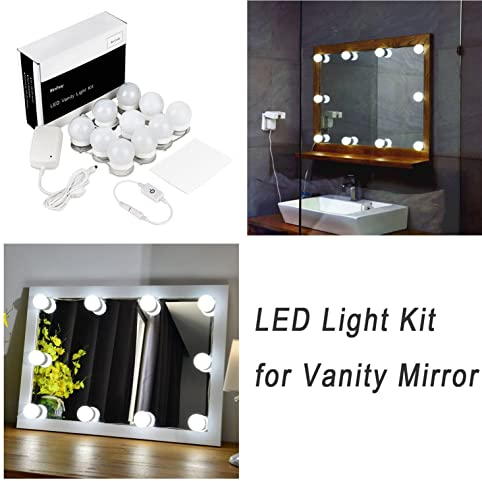 vanity set with mirror lights. Hollywood Style LED Vanity Mirror Lights Kit for Makeup Dressing Table  Set Mirrors with Dimmer