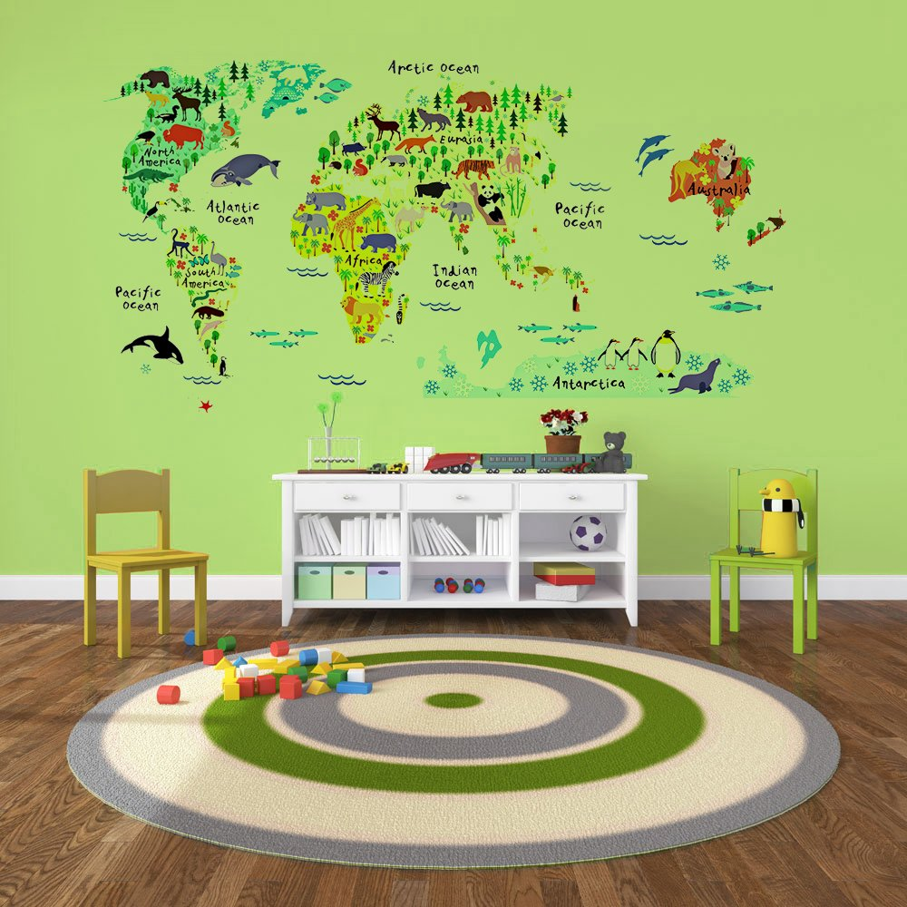 Buy kids educational animal world map wall stickers eveshine buy kids educational animal world map wall stickers eveshine peel stick home decor wall art sticker mural decals for kids baby children bedroom living gumiabroncs Image collections