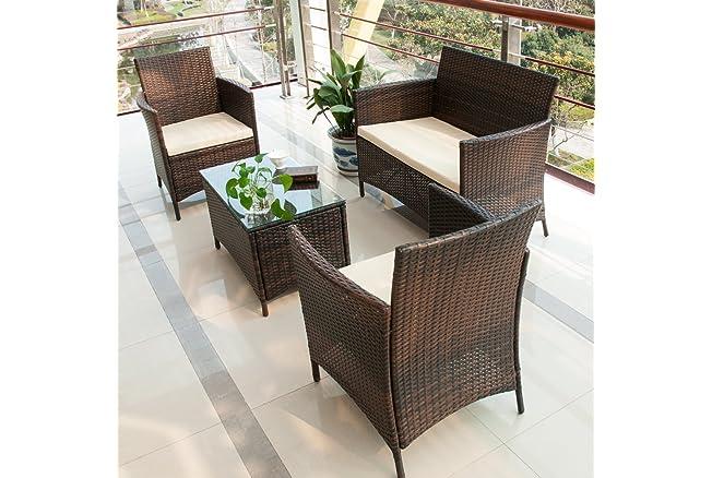 Merax 4 PC Outdoor Rattan Furniture Patio Wicker Cushioned Set Garden Sofa Set