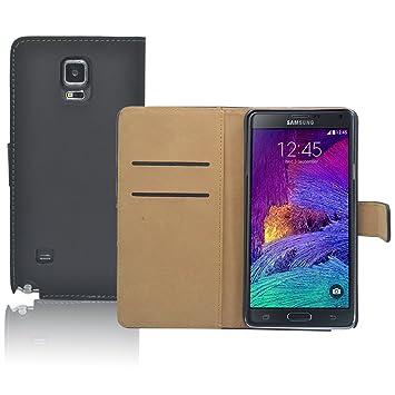 Negro Pu Cartera de Cuero Funda Para El Samsung Galaxy Note 4 N910
