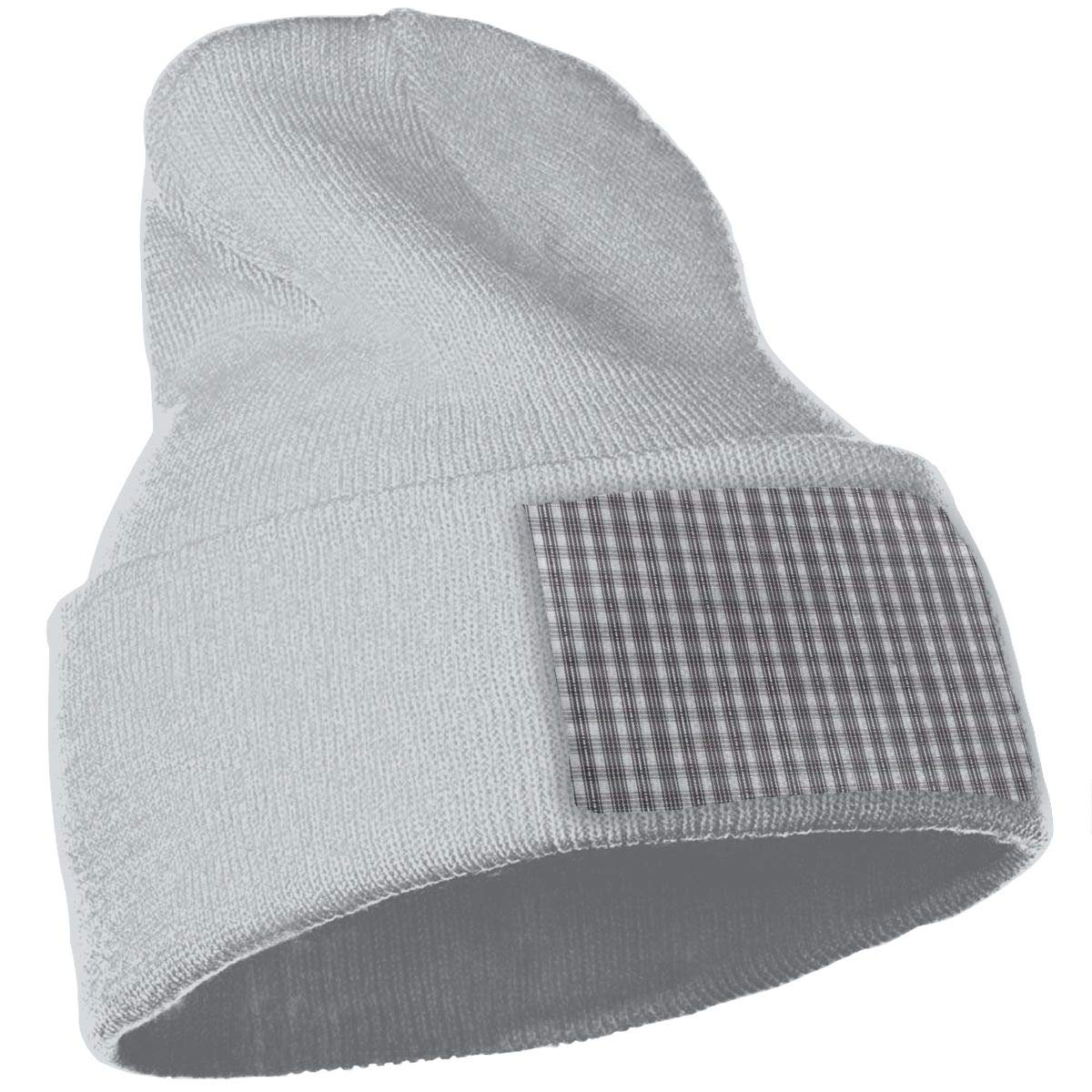 JimHappy Grey PPlaid Cloth Hat for Men and Women Winter Warm Hats Knit Slouchy Thick Skull Cap Black