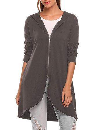 bef37e5d Zeagoo Women's Casual Light Oversized Zip Hoodie Sweatshirt Jacket Dark  Gray Small