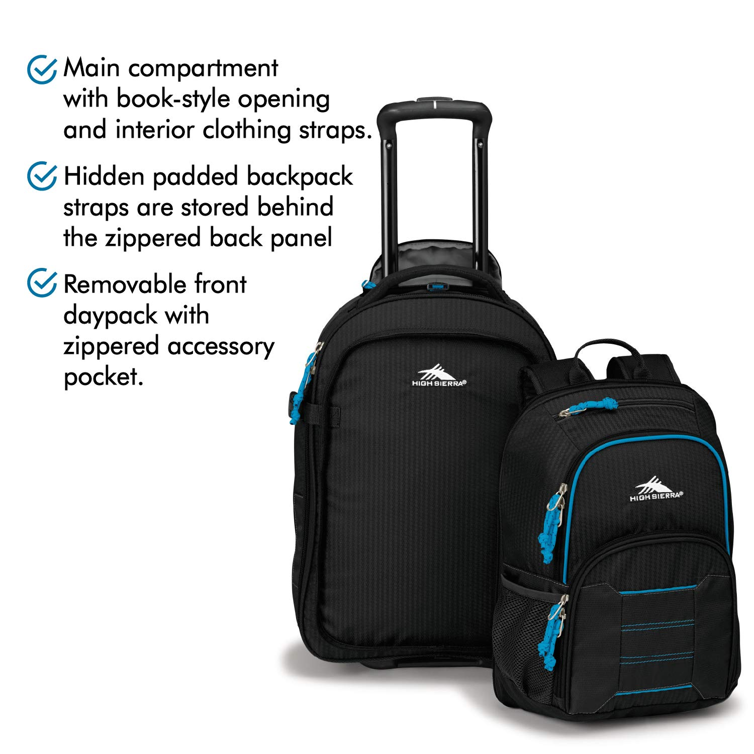 8c0e5b9f2 Amazon.com: High Sierra Ultimate Access 2.0 Carry-on Wheeled Backpack,  Black/Blue Print: Sports & Outdoors