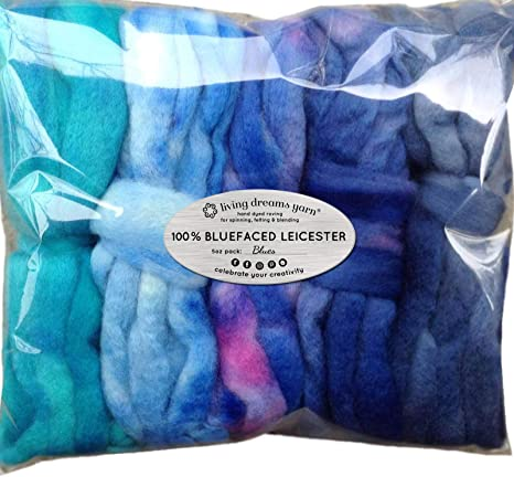 Hand Dyed Merino Tencel Spinning Fiber Blues Super Soft Wool Top Roving drafted for Hand Spinning Blending and Weaving Felting 5 Beautifully Colored Mini Skeins Discount Pack