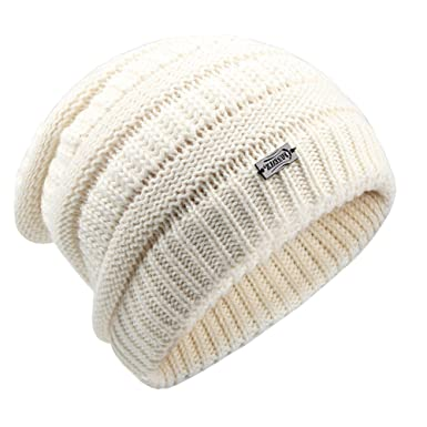 298835bf YANIBEST Wool Slouch Beanie Hats for Women - Ladies Knitted Baggy Chunky  Ski Hat