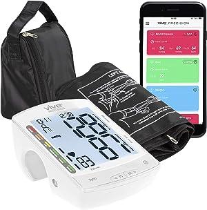 Vive Precision Smart Blood Pressure Monitor - Automatic Heart Rate Sensor Machine with Cuff - Phone Health Monitoring