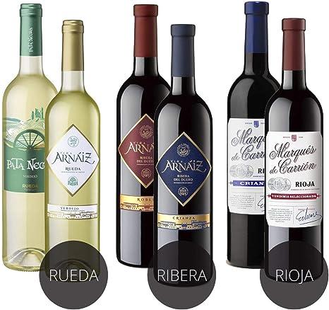 Estuche de D.O 3 Erres Surtido de 6 Vinos con D.O Rueda, D.O Ribera del Duero y D.O Rioja - Pack de 6 Botellas x 750 ml: Amazon.es: Alimentación y bebidas