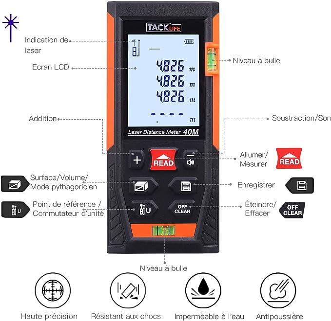 Batterie Incluse M/ètre Laser Anti-Poussi/ère Etanche IP40 avec LCD R/étro-/éclairage Mesure en continu /& Calcule Surface//Volume// Pythagore ERAY Mini T/él/ém/ètre Laser Num/érique Portable 40M//131FT Noir