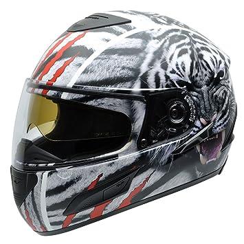 NZI 3D Cursus II Whitetiger Casco de Moto, Blanco/Negro/Rojo Fotografía de