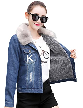 Tanming Women's Faux Fur Lined Denim Jean Jacket With Fur Collar ...