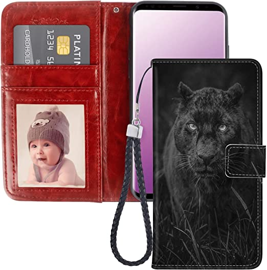 Amazon Com Solucky Samsung Galaxy S9 Wallet Case Black Panther Pu Leather With Kickstand And Card Slots Wrist Strap Flip Case For Samsung Galaxy S9 1 Pack