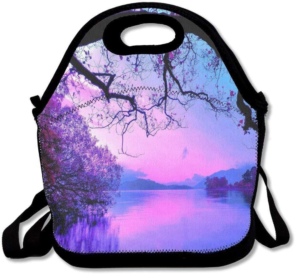 LPoxsmovw Lunch Tote Bag Lavender Mountains Purple Sky Insulated Lunch Box Food Bag Pouch Tote Bag For Adults, Kids School Work Picnic Reusable Container Handbag for School Office