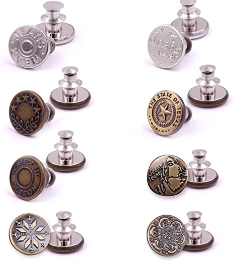 Metal Button Gift for Women Men Pants Fabric Sewing Crafts Clothes 8Pcs Perfect Fit Instant Button Instant Buttons Jean Button Replacement Adjustable Instant Button Pins for Jeans Easy Button