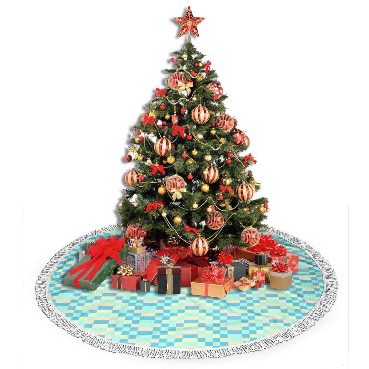 Pengyong Falda de árbol de Navidad con Textura geométrica Azul ...