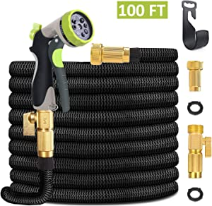 Tminnov Expandable Garden Hose 100 FT,Water Hose with Zinc Spray Nozzle 8 Function/Strongest 3 Layers Latex and Fabric/3/4 Solid Brass Connectors,Lightweight Leakproof Gardening Hose