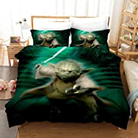 UOUL 3 Pieces Complete Bedding Set 3D Digital Printing Star Wars Pattern Polyester Cool Soft Soft Suitable for Children Youth,Style 1,Twin
