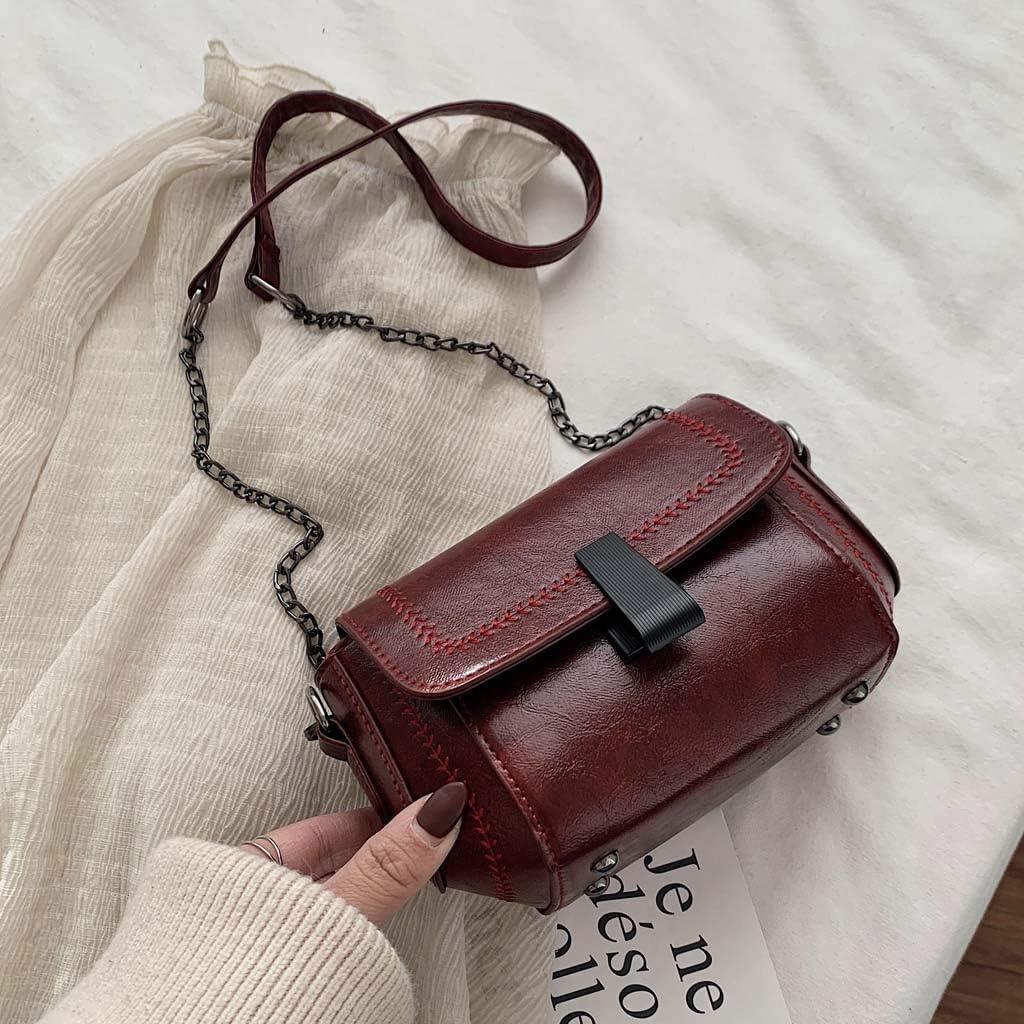 MAHAZA Femmes Sac bandoulière en cuir de couleur unie vintage Sac à main Du Vin