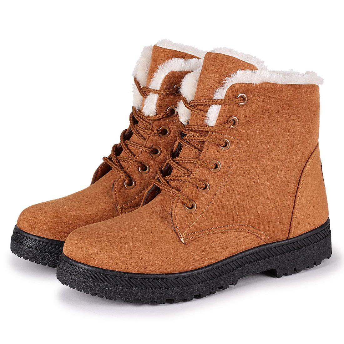 Susanny Suede Flat Platform Sneaker Shoes Plus Velvet Winter Women's Lace up Khaki Cotton Snow Boots 7 B (M) US