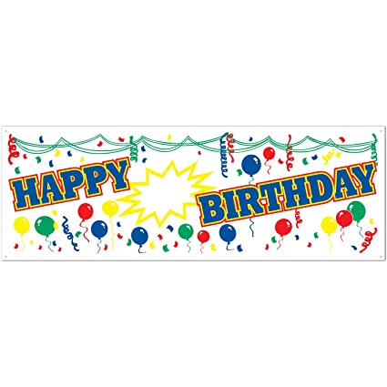 amazon com happy blank birthday sign banner party accessory 1
