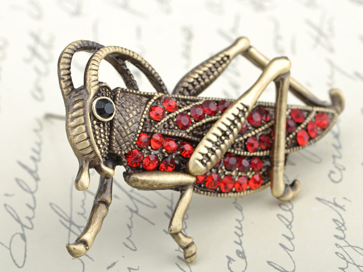 Alilang Womens Antique Golden Tone Red Rhinestones Grasshopper Cricket Insect Brooch Pin by Alilang (Image #2)