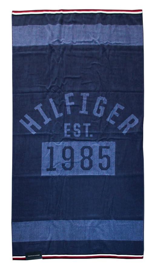Tommy Hilfiger Strandtuch Oder Pool 100% Schwamm Chenille Puro Baumwolle cm 90 x 180 Denim Blue