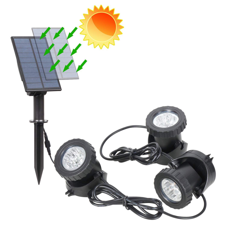 IP68 Waterproof Submersible Spotlight for Fountain Pool Underwater Decor T-SUNRISE RGB Solar LED Spotlights Solar Pond Lights Auto On//Off Set of 3 Lights